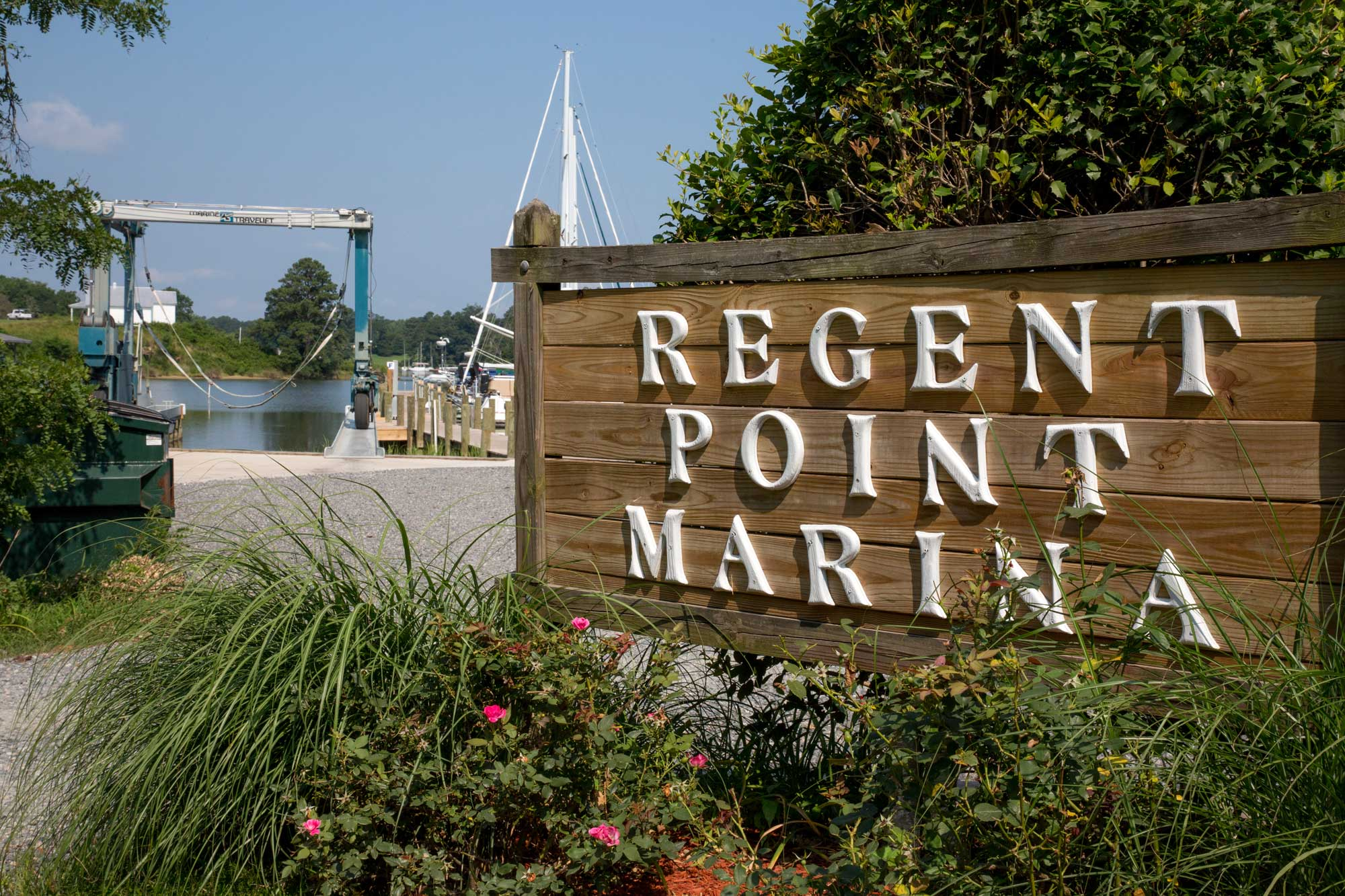 Regent Point Marina main sign by boathouse